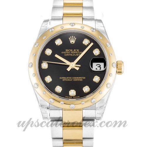 Unisex Rolex Mid-Size Datejust 178343 31 MM Case Automatic Movement Black Diamond Dial