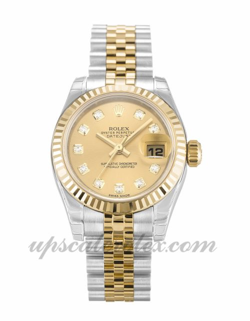Ladies Rolex Datejust Lady 179173 26 MM Case Automatic Movement Champagne Diamond Dial