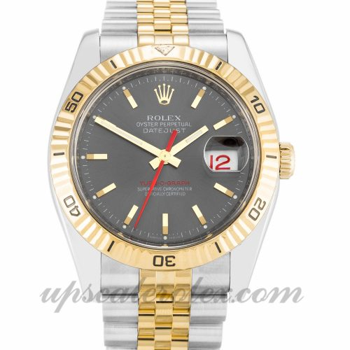 Mens Rolex Turn-O-Graph 116263 36 MM Case Automatic Movement Grey Dial