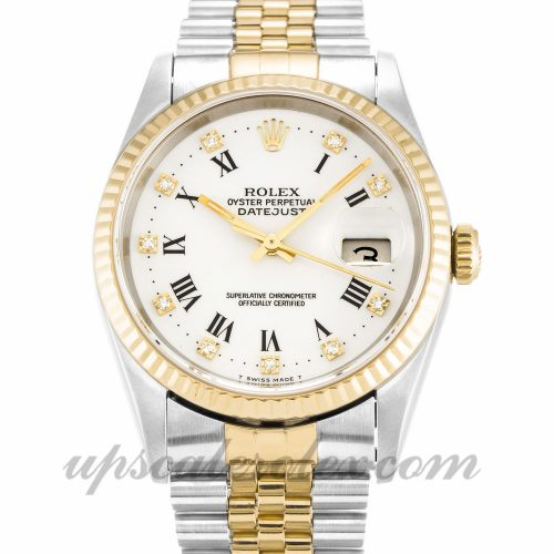 Mens Rolex Datejust 16233 36 MM Case Automatic Movement White Diamond Dial
