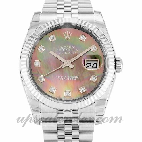 Mens Rolex Datejust 116234 36 MM Case Automatic Movement Mother of Pearl Black - Diamond Dial