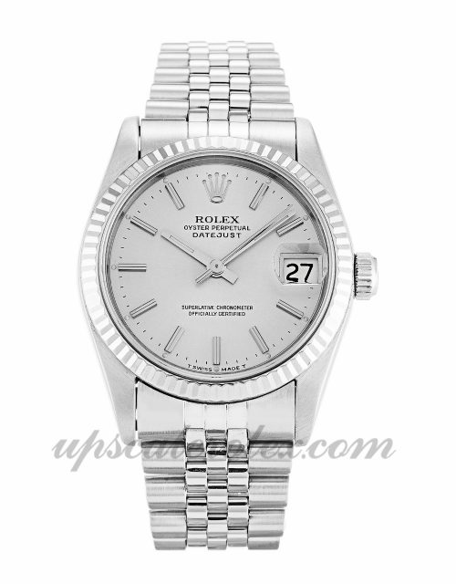 Ladies Rolex Mid-Size Datejust 68274 31 MM Case Automatic Movement Silver Dial