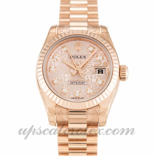 Ladies Rolex Datejust Lady 179175 26 MM Case Automatic Movement Rose Gold Diamond (Jubilee) Dial