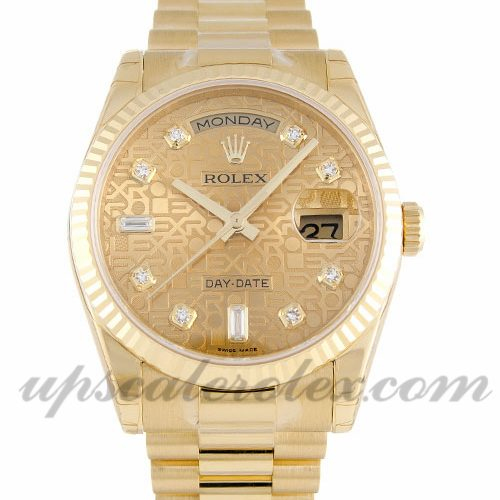 Mens Rolex Day-Date 118238 36 MM Case Automatic Movement Champagne Jubilee Diamond Dial