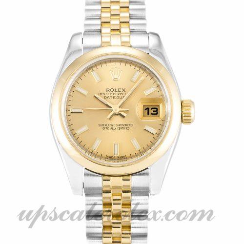 Ladies Rolex Datejust Lady 179163 26 MM Case Automatic Movement Champagne Dial