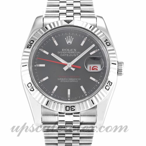 Mens Rolex Turn-O-Graph 116264 36 MM Case Automatic Movement Grey Dial