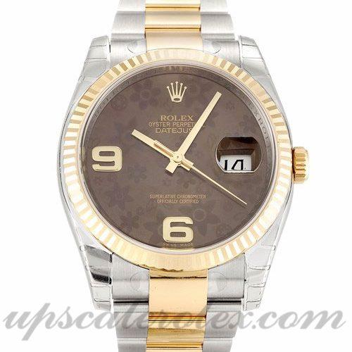 Mens Rolex Datejust 116233 36 MM Case Automatic Movement Floral Dial