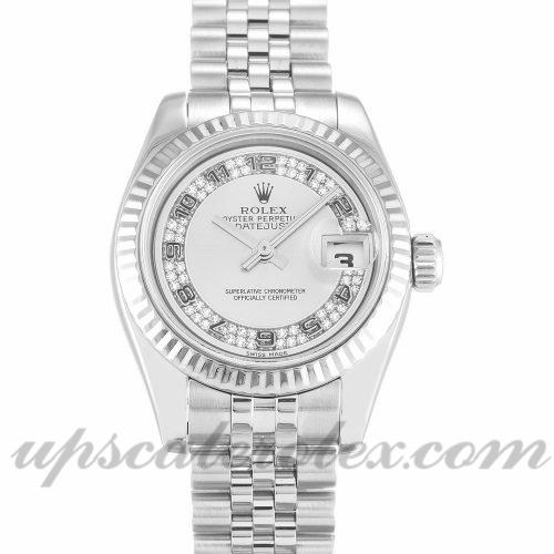 Ladies Rolex Datejust Lady 179174 26 MM Case Automatic Movement Silver Diamond Dial