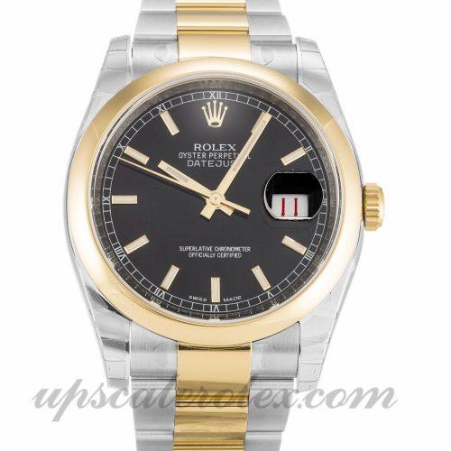 Mens Rolex Datejust 116203 36 MM Case Automatic Movement Black Dial