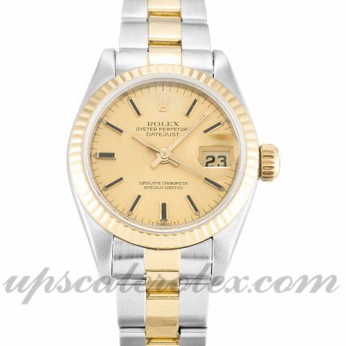 Ladies Rolex Datejust Lady 69173 26 MM Case Automatic Movement Champagne Dial
