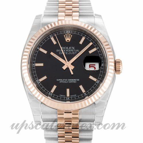Mens Rolex Datejust 116231 36 MM Case Automatic Movement Black Dial