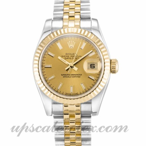 Ladies Rolex Datejust Lady 179173 26 MM Case Automatic Movement Champagne Dial
