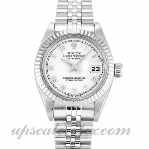 Ladies Rolex Datejust Lady 69174 26 MM Case Automatic Movement White Dial