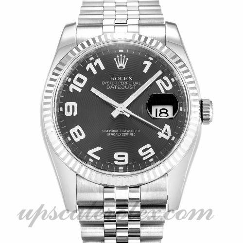 Mens Rolex Datejust 116234 36 MM Case Automatic Movement Black Concentric Dial